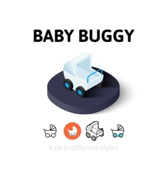 Baby buggy icon in different style vector image