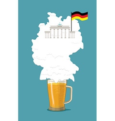 Beer with foam silhouette german map brandenburg vector