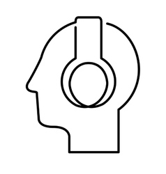 black silhouette head with headphones vector image