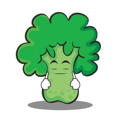 boring broccoli chracter cartoon style vector image