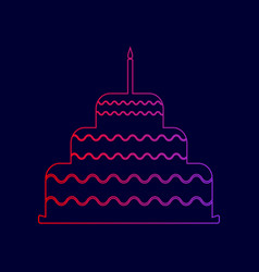 cake with candle sign line icon with vector image vector image