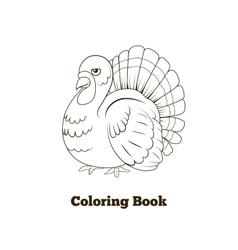 Coloring book turkey cartoon vector