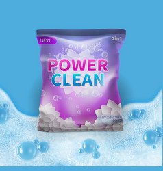 Detergent design on bag package template vector