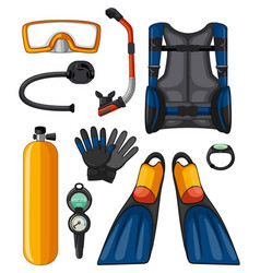 different equipments for scuba diving vector image vector image