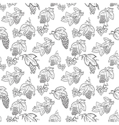 Doodle seamless pattern with grape and leaves vector