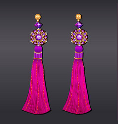 earrings from beads of purple gems and gold with vector image vector image