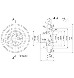 Engineering sketch of wheel with span and radical vector