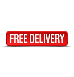 Free delivery red 3d square button isolated on vector
