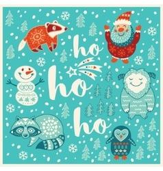 Greeting holiday card with yeti raccoon santa vector