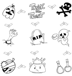 Halloween doodle art element vector
