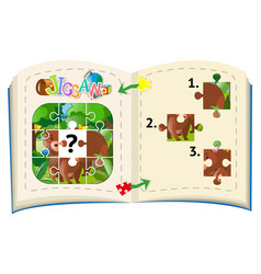 Jigsaw pieces of bears in forest vector