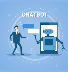 Man chatting with chatter bot from smart phone vector