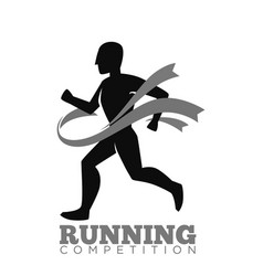 Monochrome running competition logotype emblem vector