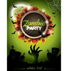 on a Halloween Zombie Party theme vector image vector image