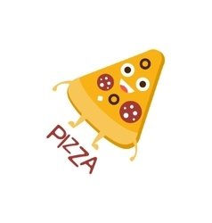Pizza slice word and corresponding vector