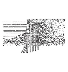 Quay wall located in new york vintage engraving vector