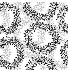 seamless floral pattern with wreath vector image
