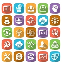 SEO and Development web and mobile icon set vector image vector image
