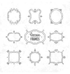 Set of 9 cute vintage frames vector image vector image