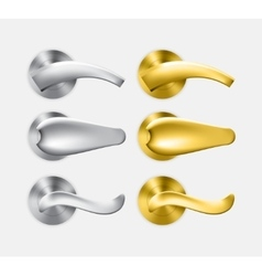 Set of metal and gold door handles vector image vector image
