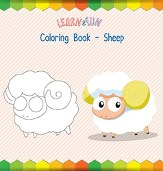 Sheep coloring book educational game vector image