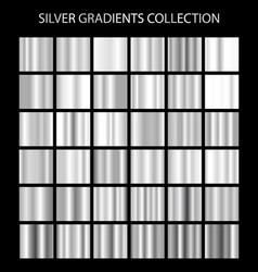 Silver gradients collection bright metallic vector