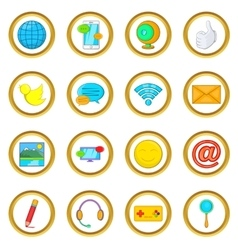 Social media set cartoon style vector image
