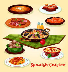 Spanish cuisine dinner menu cartoon poster design vector