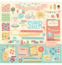 Summer scrapbook set - decorative elements vector image