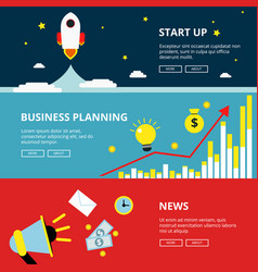 three horizontal web banners of business and vector image vector image