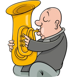 trumpeter with tuba cartoon vector image vector image