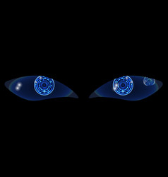 two shiny technological neon hud eyes on a black vector image vector image