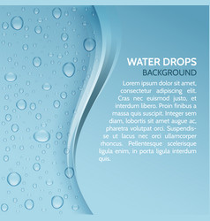 Water drops realistic background with stripe for vector