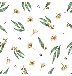 Watercolor seamless pattern branches of eucalyptus vector