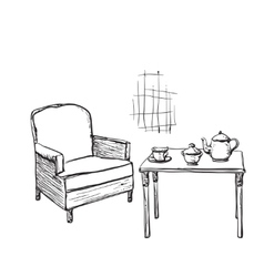 Tea time Hand drawn chair and table vector image