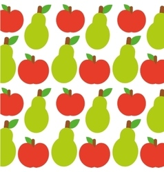 Apple and pear fruits background design vector