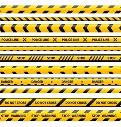 Yellow plastic caution tape or warning set vector