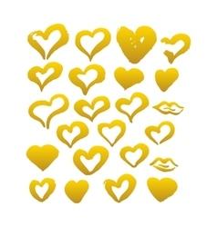 Gold Hand Drawn Brush Hearts vector image