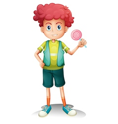 A boy holding a lollipop vector