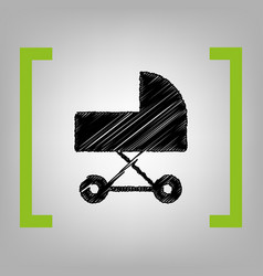 Pram sign black scribble vector