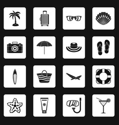 Summer rest icons set squares vector