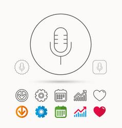 Retro microphone icon karaoke sign vector