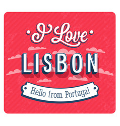 Vintage greeting card from lisbon vector