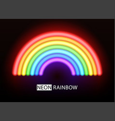 Neon rainbow glowing multicolored brushes vector