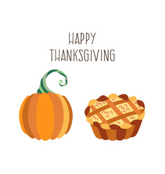 set of thanksgiving pie and pumpkin vector image