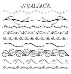 Summer hand drawn border set vector