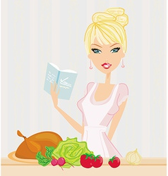 Beautiful lady cooking lunch vector