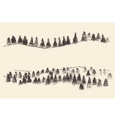Fir Forest Contours Engraving in Mountains vector image
