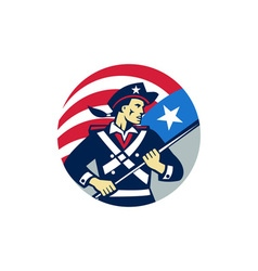 American patriot holding brandish usa flag circle vector
