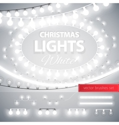 White christmas lights decoration set vector